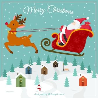 Tarjeta de navidad de papá Noel volando