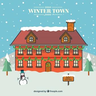 Tarjeta de navidad de pueblo invernal