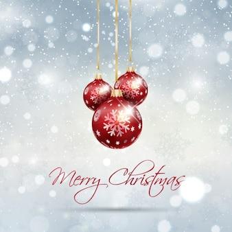 Tarjeta de navidad resplandeciente con bolas de árbol