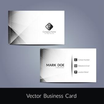 Tarjeta de negocio blanca con detalles grises