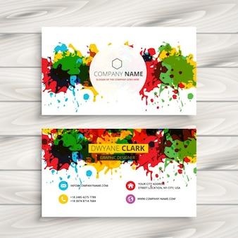 Tarjeta de negocios artística con salpicaduras coloridas