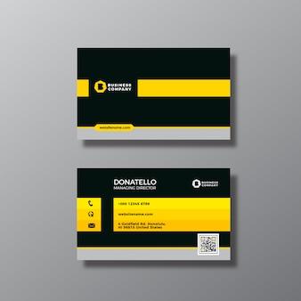 Tarjeta de negocios con diseño amarillo y negro