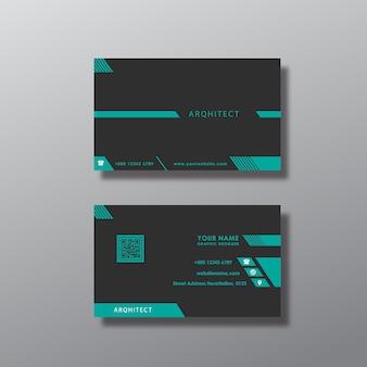 Tarjeta de negocios con diseño azul y negro