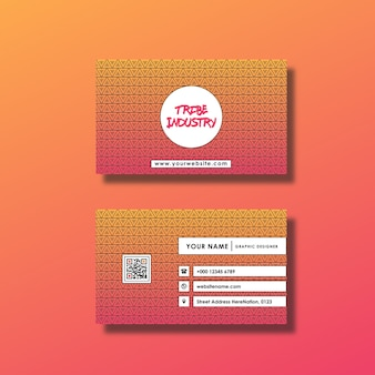 Tarjeta de negocios con diseño de degradado rosa