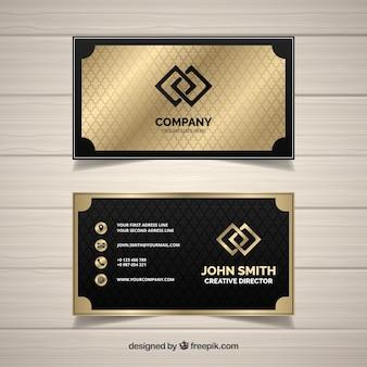Tarjeta de negocios dorada geometrica
