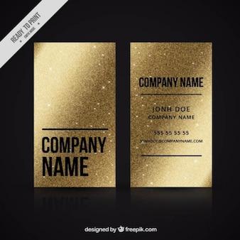 Tarjeta de negocios dorada hecha de purpurina