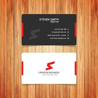 Tarjeta de negocios elegante con detalles rojos