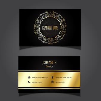Tarjeta de negocios estilosa con  detalles dorados