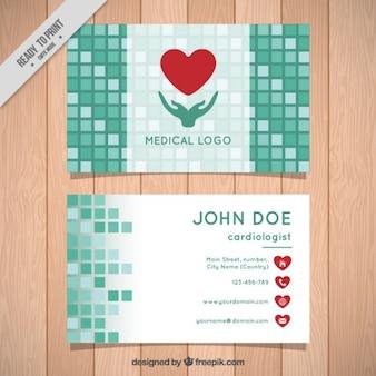 Tarjeta de negocios médica de cuadros verdes