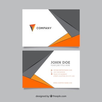 Tarjeta de negocios moderna de color gris y naranja