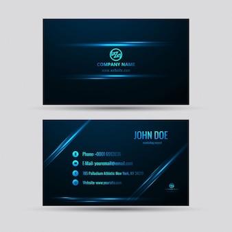 Tarjeta de negocios tecnológica azul con detalles de luz
