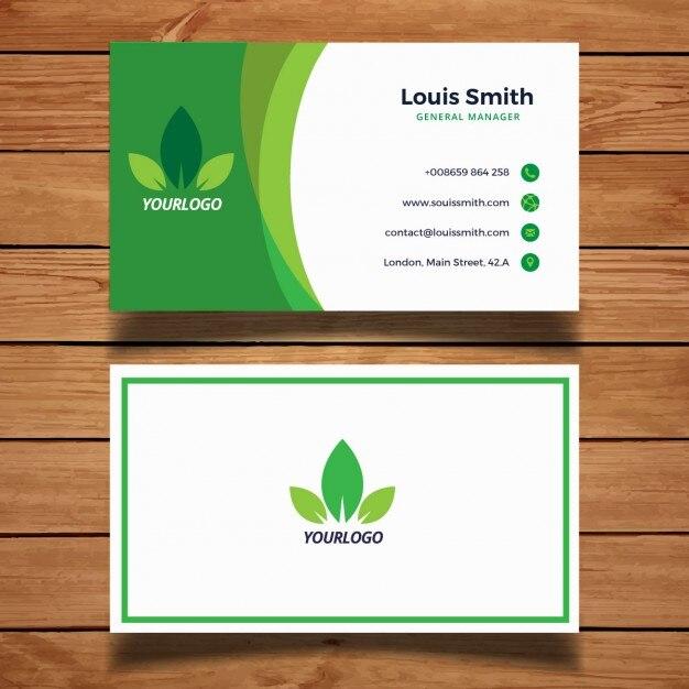 tarjeta de negocios verde con hojas