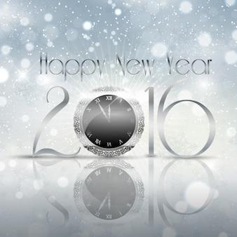 Tarjeta de Nuevo año plateada con un reloj brillante