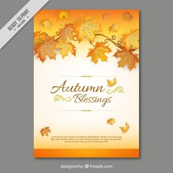 Tarjeta de otoño de hojas secas