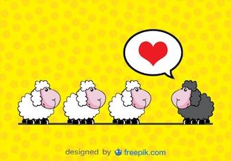 Tarjeta de oveja enamorada de dibujos de historieta en vector