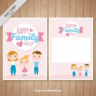 Tarjeta de padres adorables con su hija