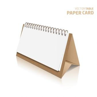 Tarjeta de papel de mesa 3d aislado en un fondo gris vector realista