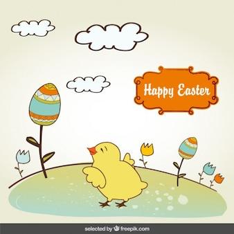 Tarjeta de Pascua con el polluelo