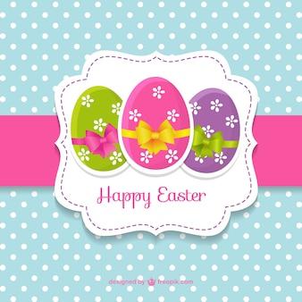 Tarjeta de Pascua linda con huevos de Pascua