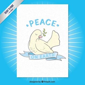 Tarjeta de paz con una paloma pintada a mano