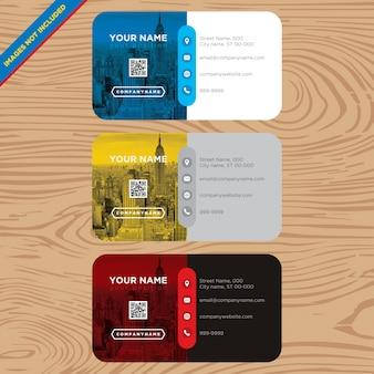 Tarjeta de presentación azul, amarilla y roja