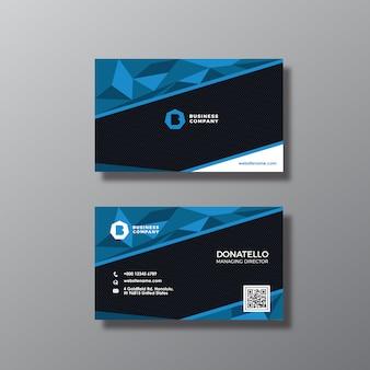 Tarjeta de presentación azul y negra