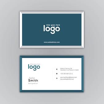 Tarjeta de presentación con diseño azul y blanco