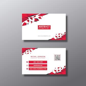 Tarjeta de presentación con diseño blanco y rojo