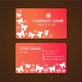 Tarjeta de presentación con diseño de mariposas