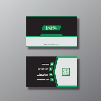 Tarjeta de presentación con diseño negro y verde