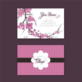Tarjeta de presentación rosa de tienda de flores