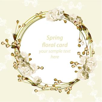Tarjeta de primavera con corona floral