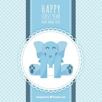 Tarjeta de primer cumpleaños con un elefante