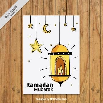 Tarjeta de ramadan de farol dibujado a mano