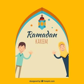 Tarjeta de ramadan de gente saludando