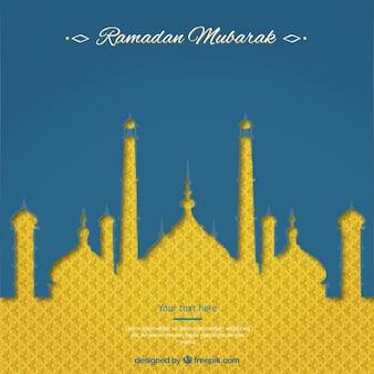 Tarjeta de Ramadán Mubarak con la mezquita abstracta