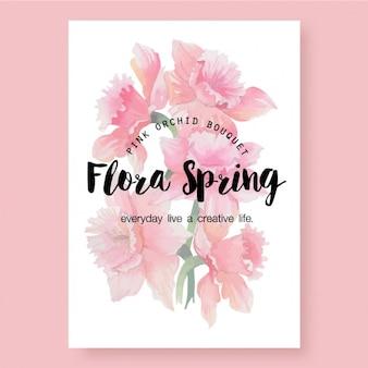 Tarjeta de ramo de orquídeas rosas