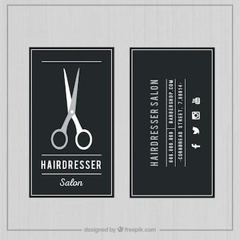 Tarjeta de salón de peluquería oscura