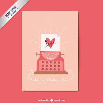 Tarjeta de san Valentín de máquina de escribir