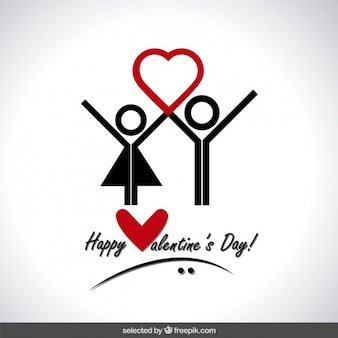 Tarjeta de San Valentín con los iconos humanos