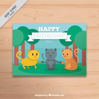 Tarjeta de simpáticos gatos amigos