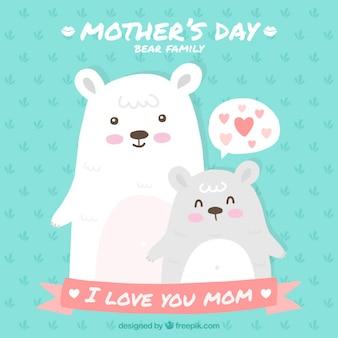 Tarjeta de simpáticos osos del día de la madre