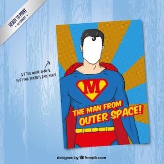 Tarjeta de Superman de dibujos animados