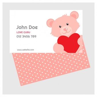 Tarjeta de valentín de osito de peluche rosa bobito