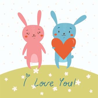 Tarjeta de vector con conejitos lindos en el amor