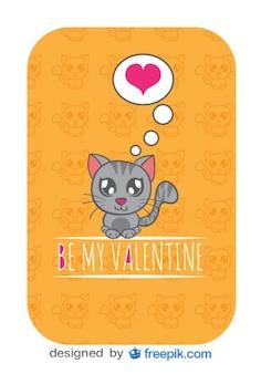 Tarjeta de vector con gato de dibujos animados enamorado