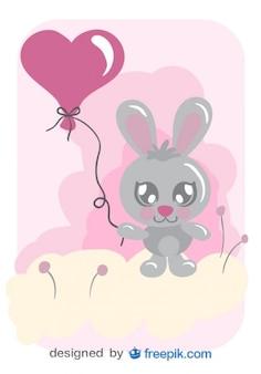 Tarjeta de vector de conejito con globo de corazón
