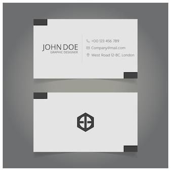 Tarjeta de visita blanca y negra de diseñador gráfico
