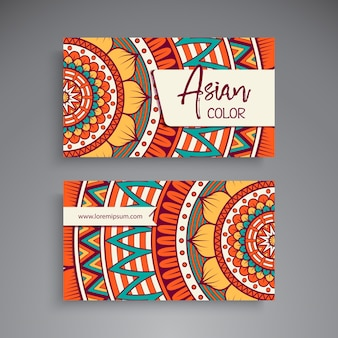 Tarjeta de visita colorida de mandala