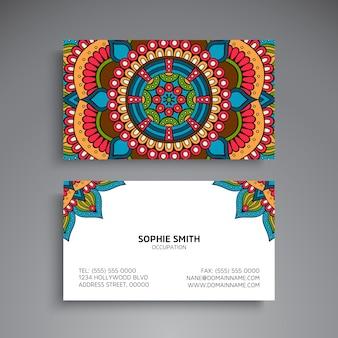 Tarjeta de visita colorida mística de mandala